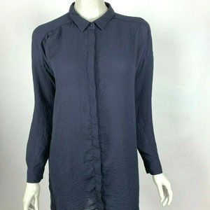 COS Long Sleeve Tunic Top Button-Up Solid Navy